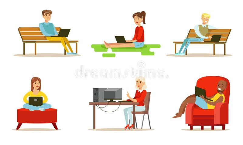 Flat vector set of people with computers. Young girls and guys using laptops. Internet users watching movie, chatting or. Set of people with computers. Young royalty free illustration