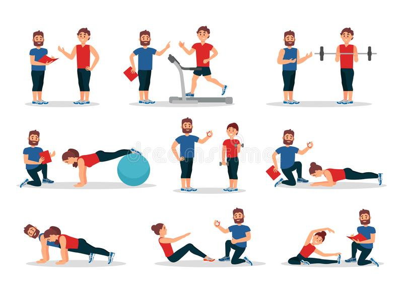Flat vector set of people in gym with personal trainer. Men and women doing various exercises. Physical activity and. Set of people in gym with personal trainer vector illustration