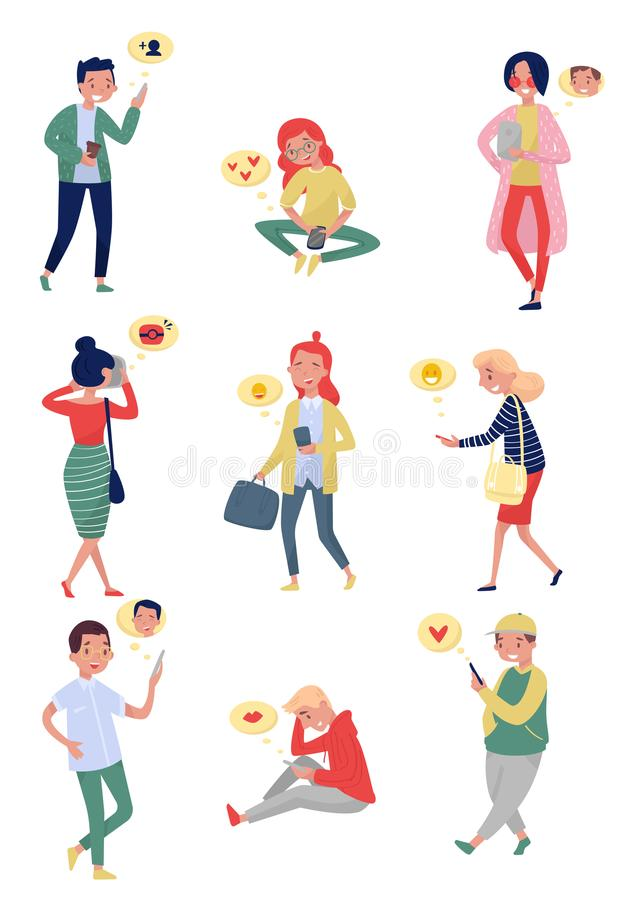 Flat vector set of people with mobile phones. Young girls and guys using gadgets for communication. Online dating. Set of people with mobile phones. Young girls vector illustration