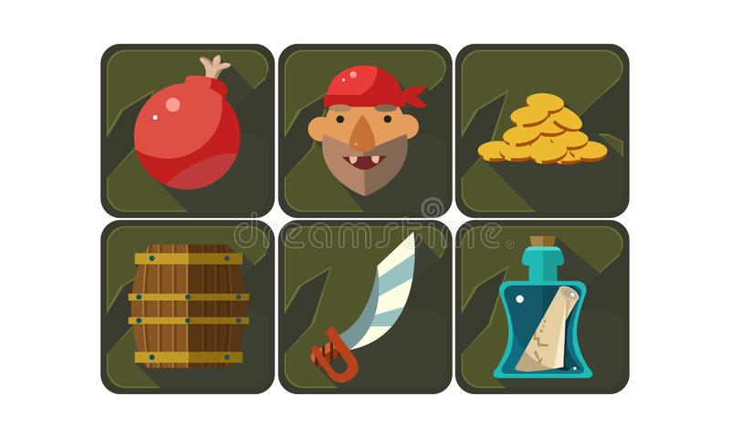 Flat vector set of pirate game symbols. Bomb, freebooter, golden coins, wooden barrel, sword, bottle with scroll message vector illustration