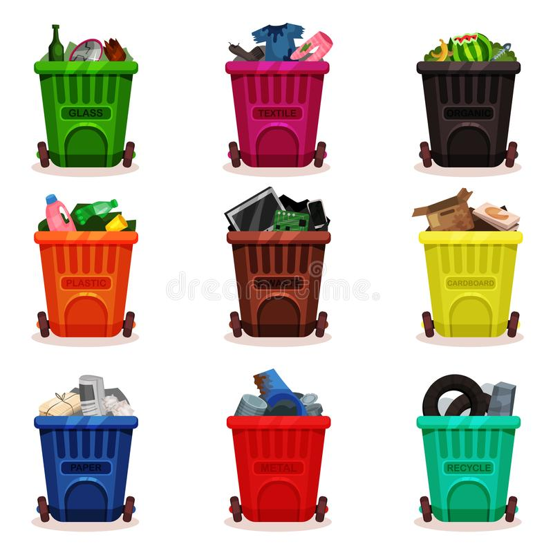 Flat vector set of plastic containers with different types of waste. Garbage bins with wheels. Icons related to trash vector illustration