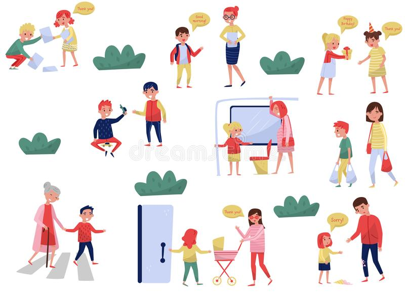Flat vector set of polite children in different situations. Kids with good manners. Little boys and girls helping adults. Set of polite children in different royalty free illustration