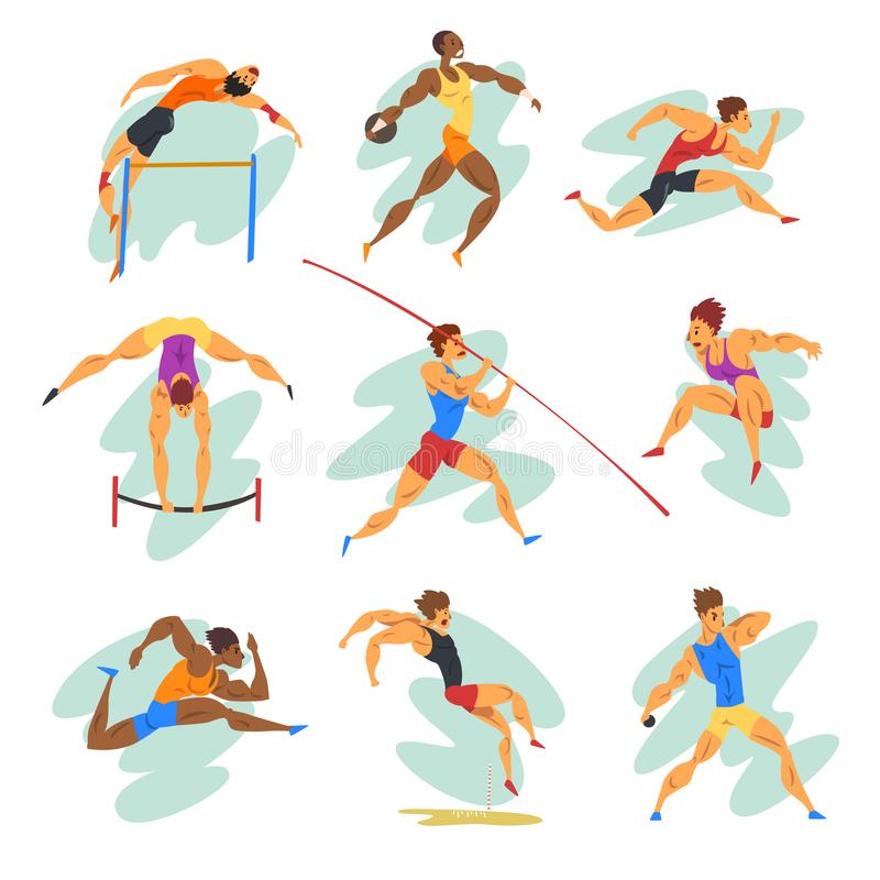 Flat vector set of professional athletes in different actions. Young muscular guys in sportswear. Active people. Olympic. Set of professional athletes in royalty free illustration