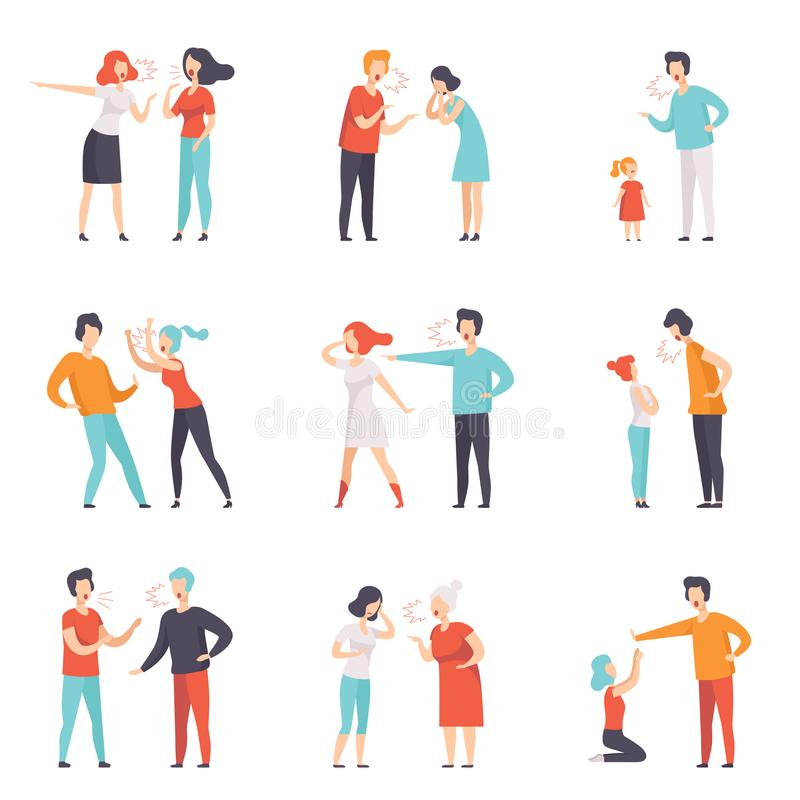 Flat vector set of quarreling people. Loud public scandal. Men and women screaming at each other. Negative emotions and vector illustration