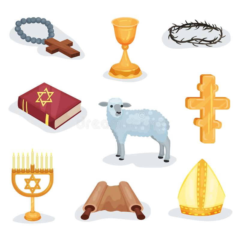 Flat vector set of religious symbols and objects. Jewish prayer book, Torah scroll, lamb and various church attributes stock illustration