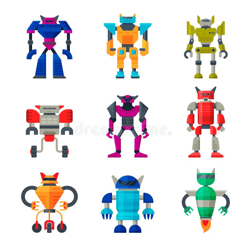 Flat vector set of robot transformers. Futuristic metal androids. Artificial intelligence. Elements for mobile game. Collection of various robot transformers stock illustration