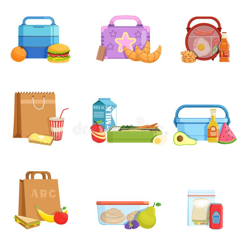 Flat vector set of school lunch boxes and bags with food and drinks. Tasty meal for kids royalty free illustration
