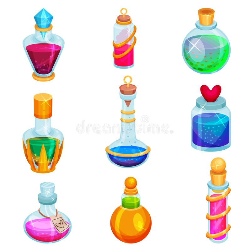 Flat vector set of small bottles with potions. Different glass vials with magic elixirs. Toxic liquids vector illustration