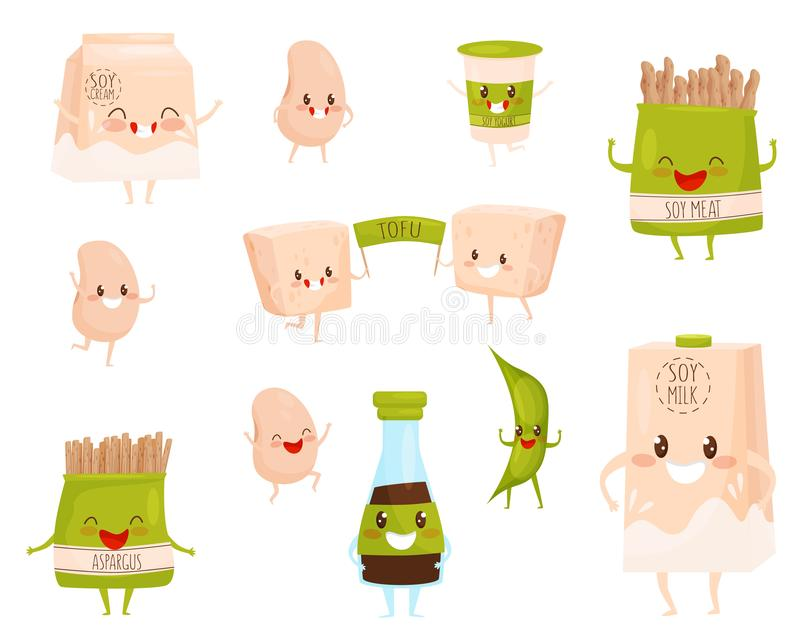 Flat vector set of soy products characters with cute faces. Milk and cream, cup of yogurt, soybeans and meat, tofu and stock illustration