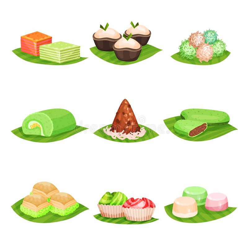 Flat vector set of traditional Indonesian sweets. Delicious desserts. Oriental food. Design for menu, poster or recipe. Collection of traditional Indonesian vector illustration