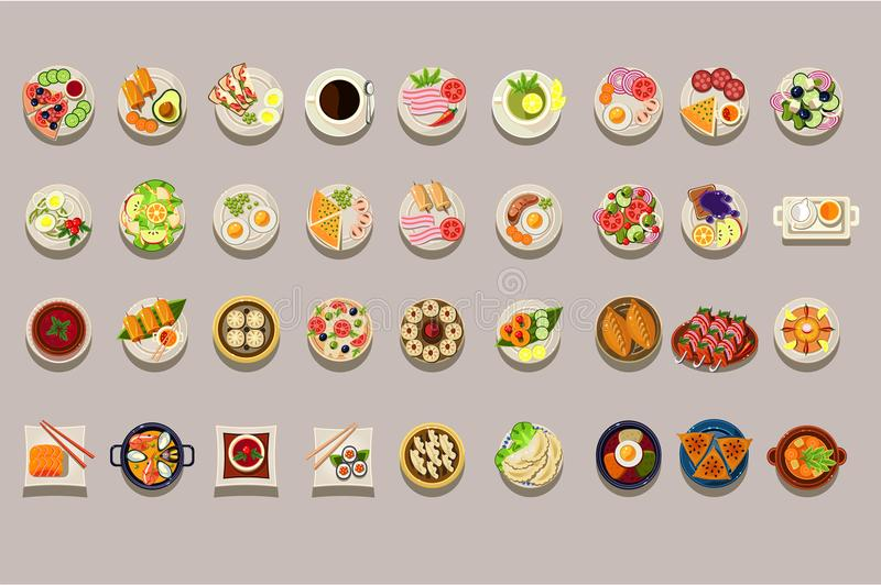 Flat vector set of various dishes. Detailed food icons. Coffee and green tea. Culinary theme. Delicious meal. Elements royalty free illustration