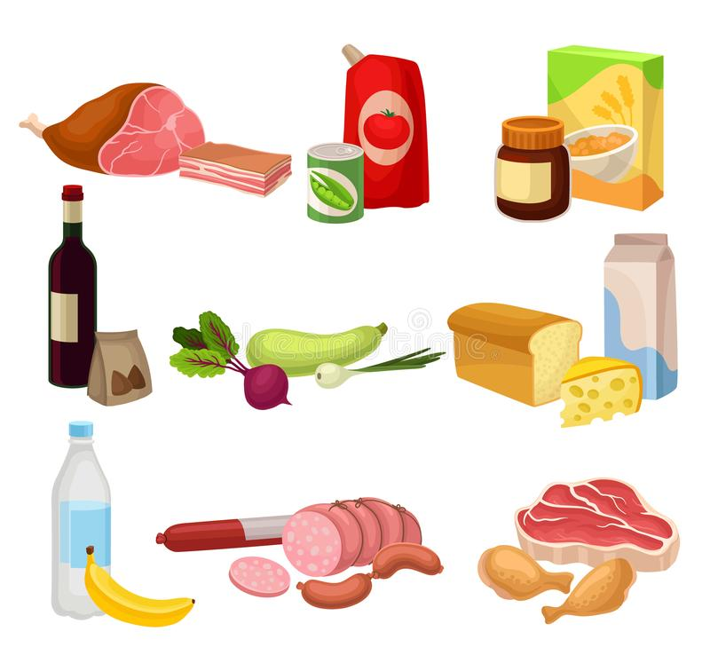 Flat vector set of various groceries. Fresh meat sausages and chicken , natural vegetables, dairy products. Healthy. Set of various groceries. Fresh meat stock illustration