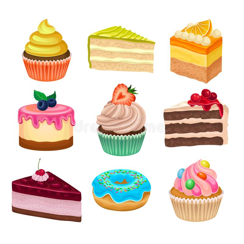 Flat vector set of various sweet desserts. Cupcakes, doughnut and cakes. Tasty baked goods. Flat vector icons. Colorful collection of various sweet desserts stock illustration