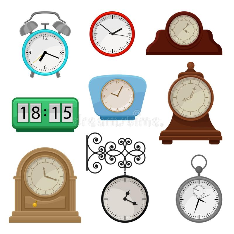 Flat vector set of various types on clocks. Stopwatch and alarm clock. Elements for promo poster of antiques or souvenir. Set of various types on clocks stock illustration