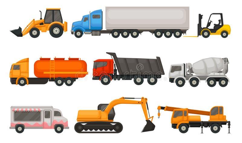 Flat vector set of various types of vehicles. Semi trucks, dumper, food van, tractor, forklift and heavy construction royalty free illustration