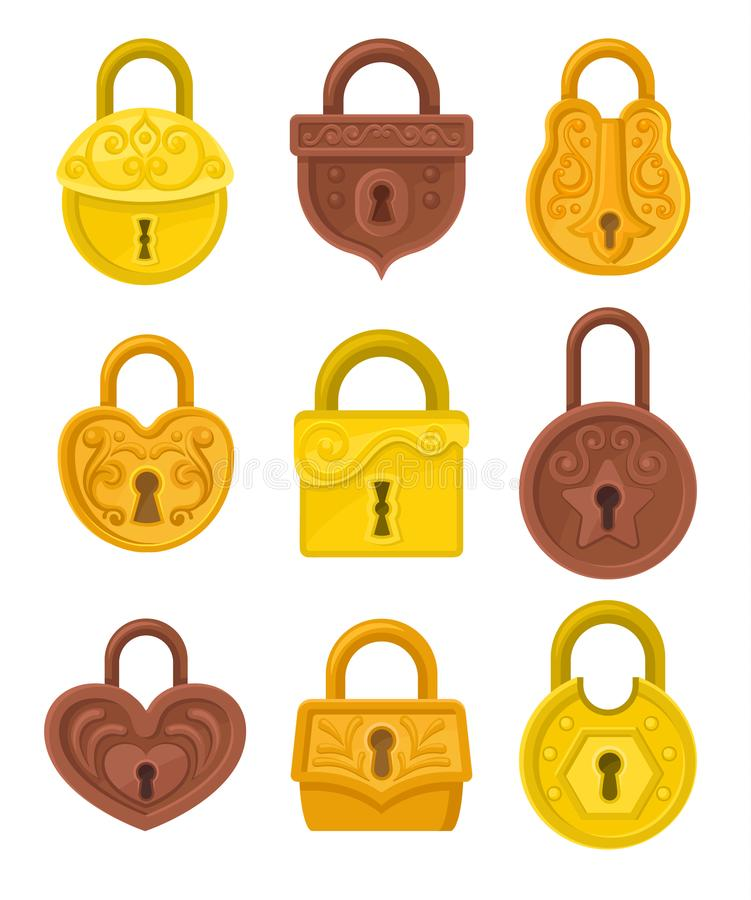 Flat vector set of vintage padlocks decorated with ornamental engraving. Antique hanging locks. Design for postcard royalty free illustration