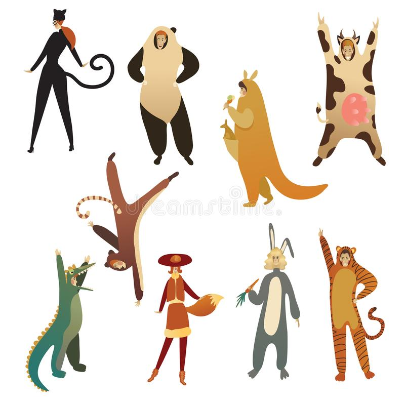 Flat vector set of young people in animal costumes. Cartoon men and women in clothing for carnival. Set of young people in animal costumes. Cartoon men and women royalty free illustration