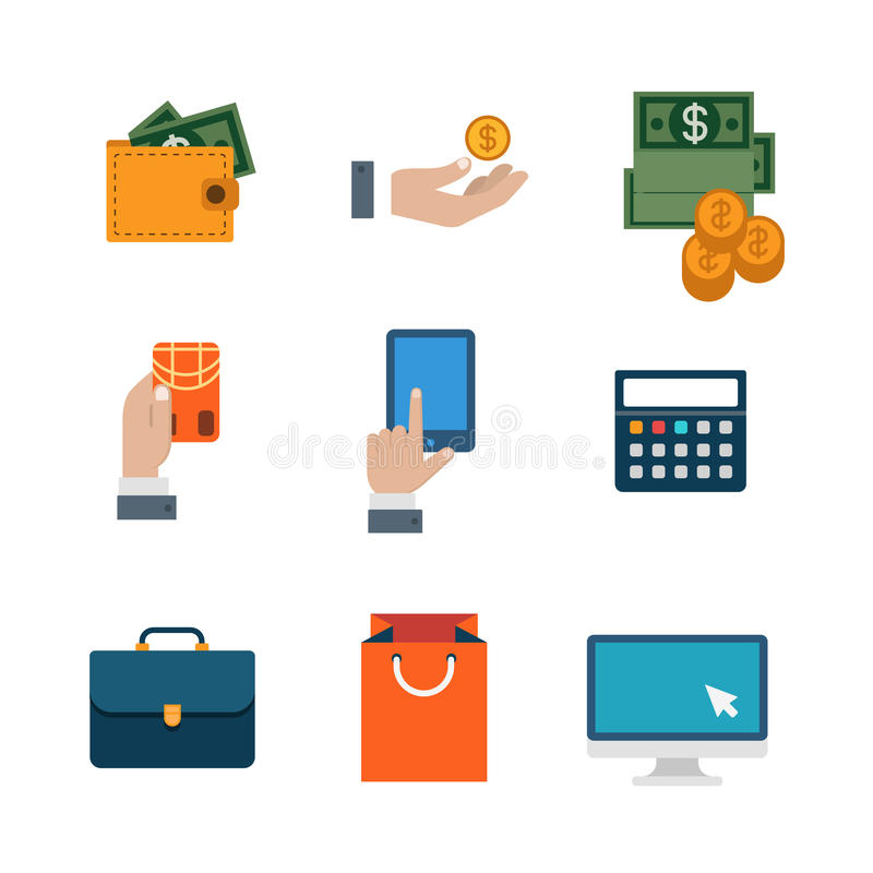 Flat vector site interface: shopping, payment, business icon stock illustration