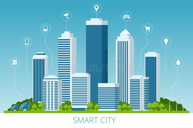 Flat vector smart city and communication network. Wifi, internet, communication, travel, computer and kinds of. Technology for smart city concept vector illustration