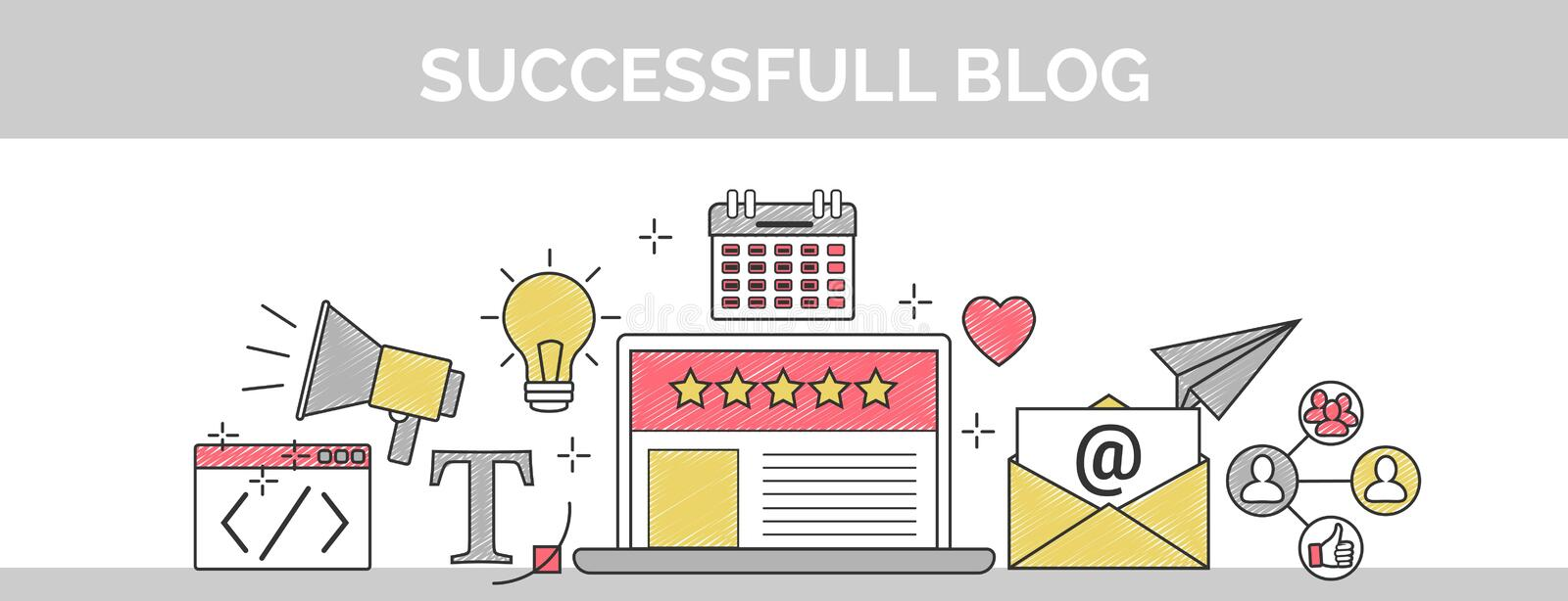 Flat vector thin line scribble header banner illustration of how to establish a successful 5 star blog. It includes: newsletter, s vector illustration