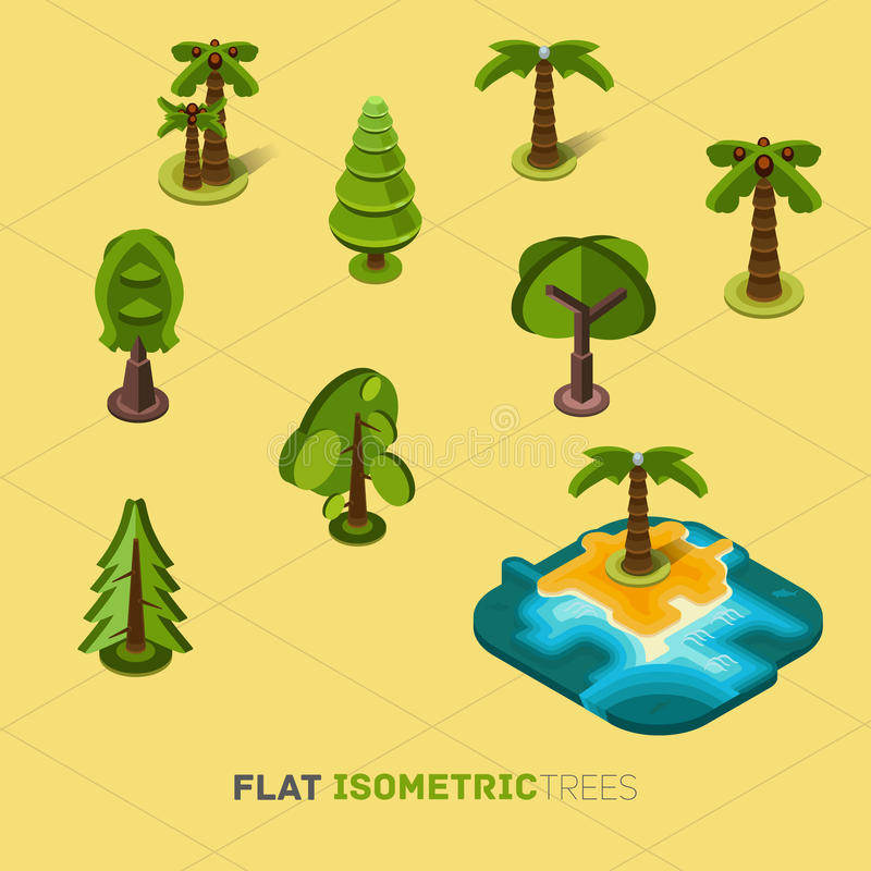 Flat vector trees 3d isometric concept. royalty free illustration
