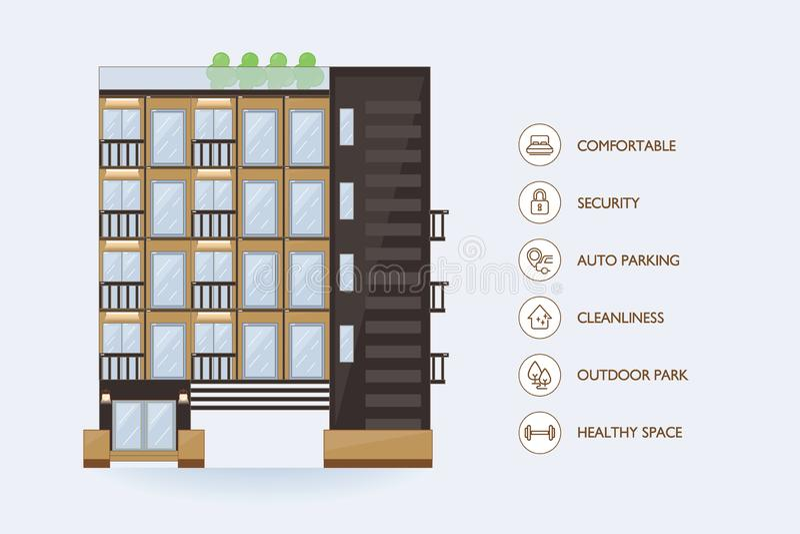 Flat vector urban building. Icon facilities for condominium. Icon facilities stock illustration