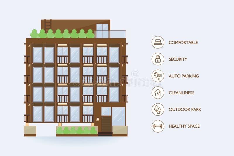 Flat vector urban building. Icon facilities for condominium. Icon facilities vector illustration