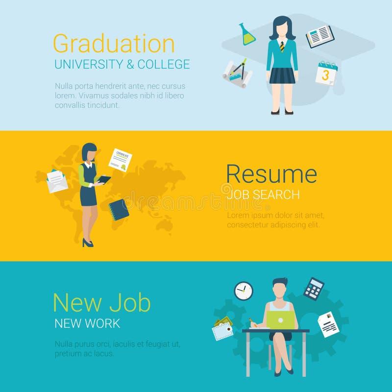Flat vector website slider banner career graduation university. Flat style website slider banner career concept web infographics. Graduation college university stock illustration