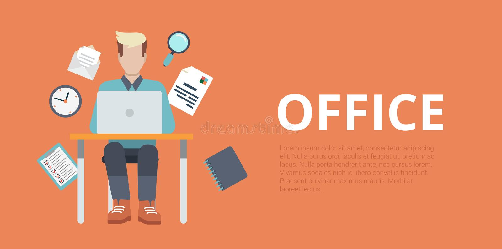 Flat vector website slider banner office workplace working. Flat style website slider banner office workplace concept web infographics. Young man sitting table stock illustration