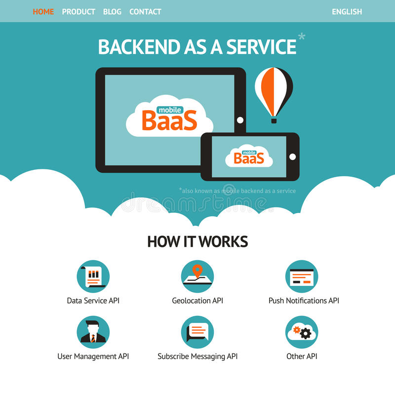 Flat vector website template with mobile gadgets. Displaying backend as a service stock illustration