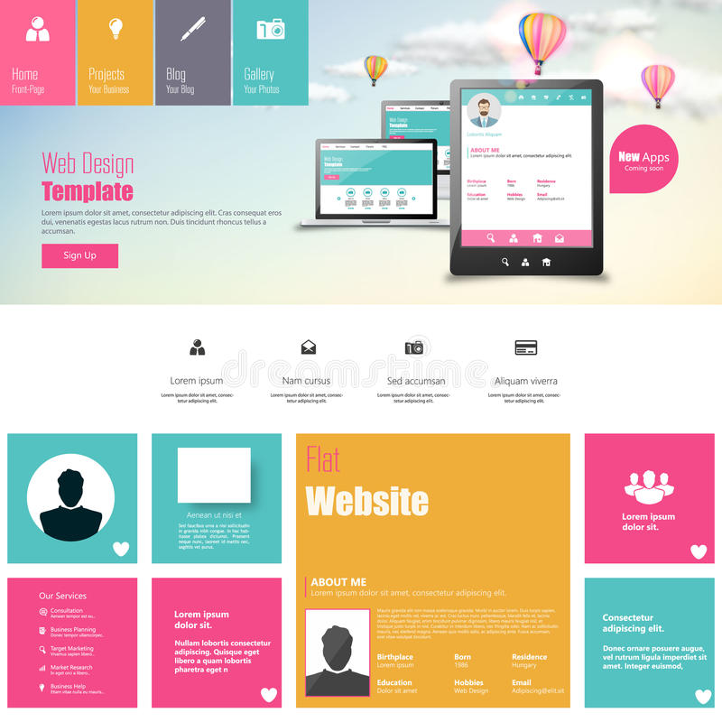 Flat Vector Website Template With Mobile Gadgets Displaying Backend ...