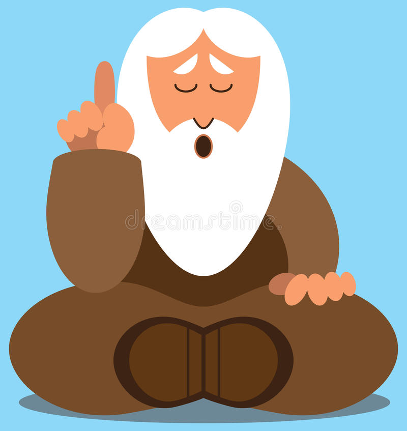 Flat Vector Wise Man. Bearded wise man dispensing wisdom vector illustration