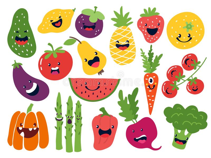 Flat vegetable characters. Funny smiley doodle fruits, hand drawn berries potato onion tomato apples. Vector cute fruits. Emoticon set vector illustration
