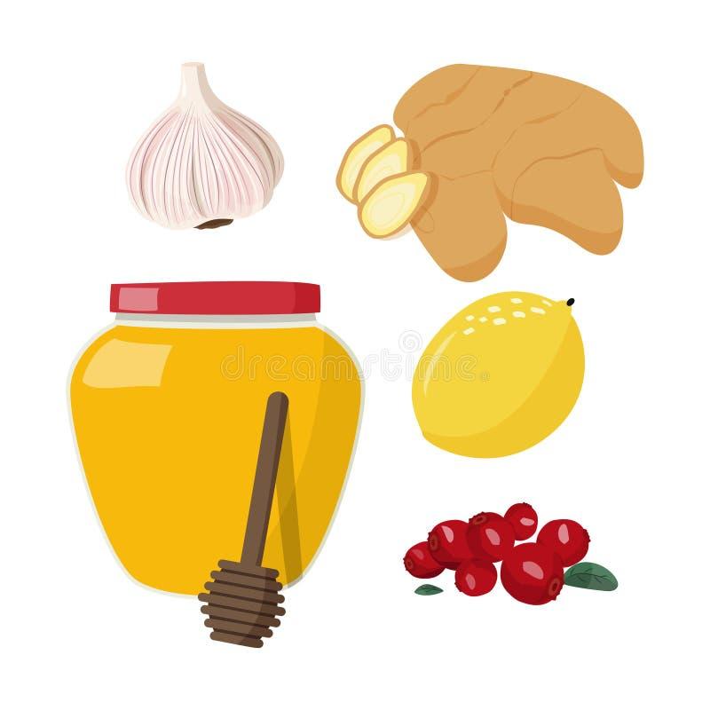 Flat Vektor Illustration Set von kalt, krank, häusliche Behandlung, Grippesaison Gesunde Lebensmittel lizenzfreie abbildung