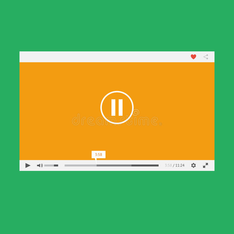 Download Flat video player stock vector. Image of control, button - 35209080