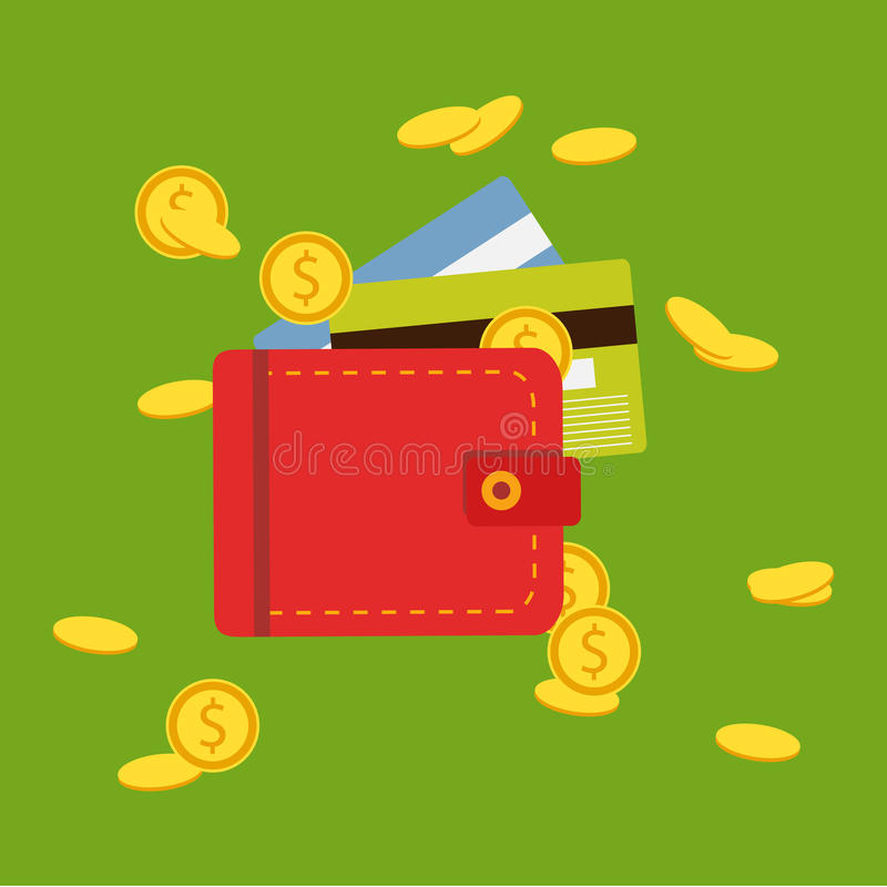 Flat wallet with money, coins and credit card, cash. Illustration, icon, flat design. Flat wallet with money, coins and credit card, cash royalty free illustration