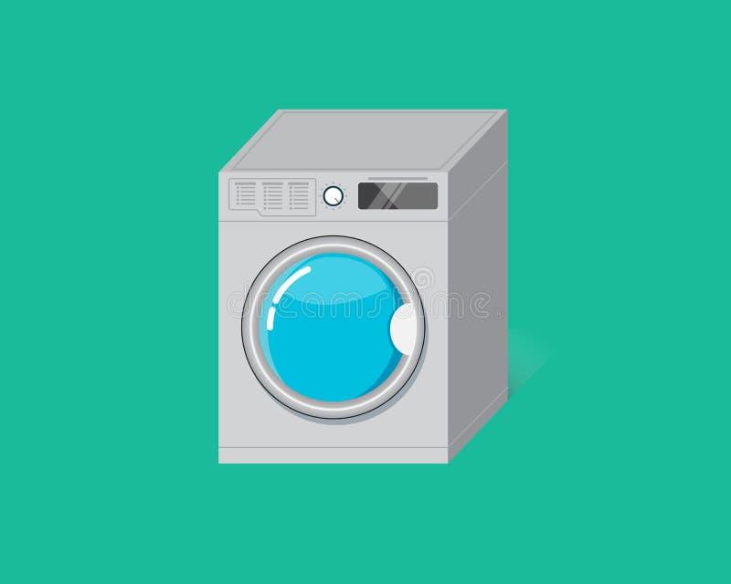 Flat Washing machine on Bright Green Background. NCleaning machine royalty free illustration