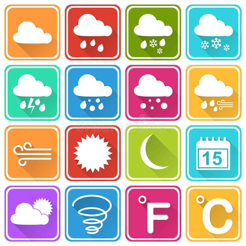 Flat weather icons royalty free stock photo