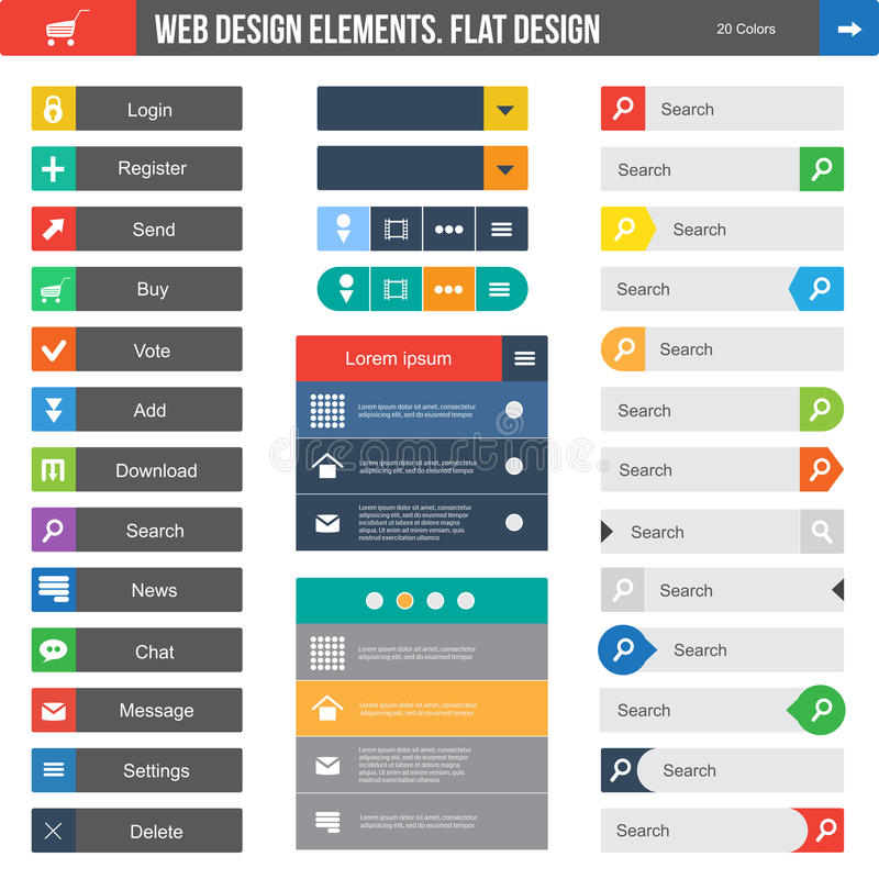 Flat Web Design. Elements, buttons, icons. Templates for website