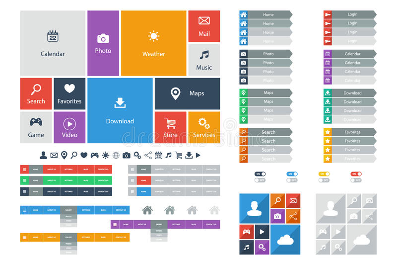 Flat Web Design elements, buttons, icons. Templates for website. royalty free illustration