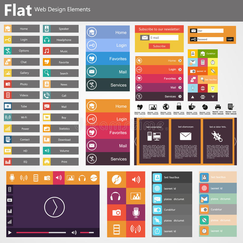 Flat Web Design, elements, buttons, icons. Templates for website. royalty free illustration