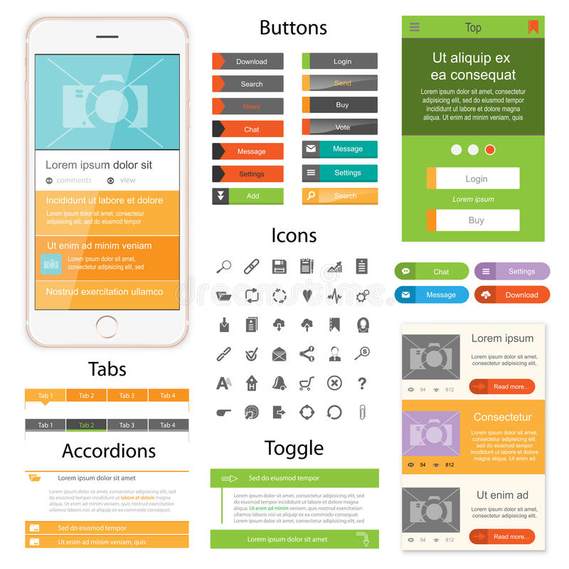Flat Web design. Web design elements for website or app. Collection of icons, buttons with tabs and toogles for website. Design for application royalty free illustration