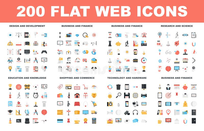 Flat Web Icons. 200 Flat web icons - design and development, business and finance, research and science, education and knowledge, shopping and commerce stock illustration
