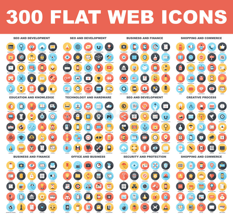 Flat Web Icons. 300 Flat web icons - SEO and development, creative process, business and finance, office and business, security and protection, shopping and vector illustration