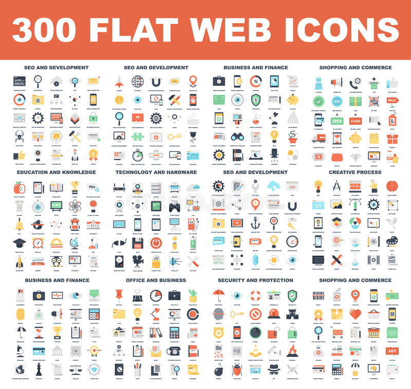 Flat Web Icons stock illustration