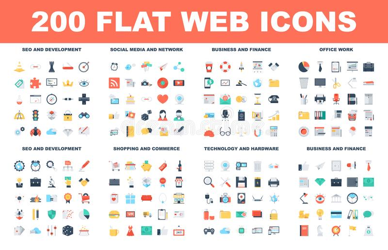 Flat Web Icons vector illustration