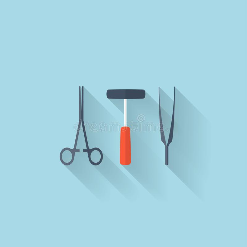 Flat web internet icon. Medical tools. stock illustration