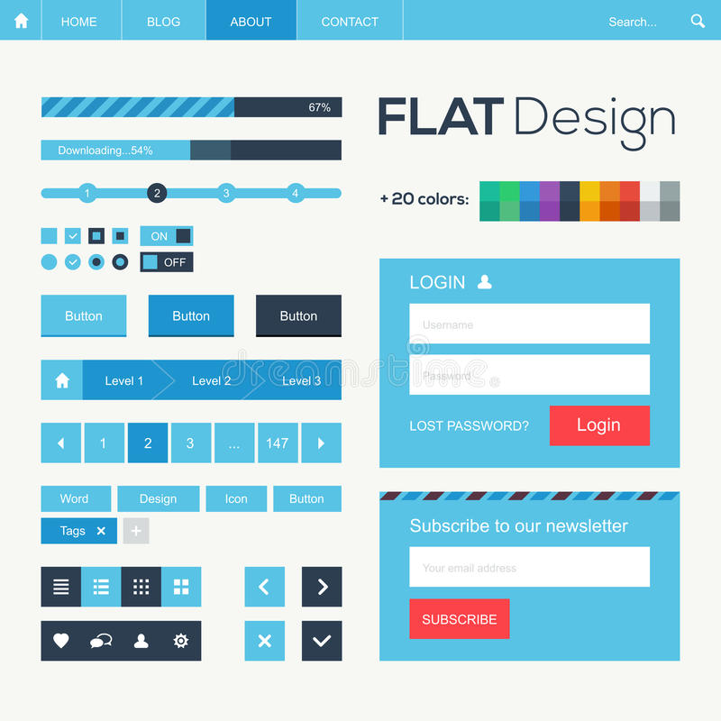Download Flat Web And Mobile Design Elements Stock Vector - Image: 33552296