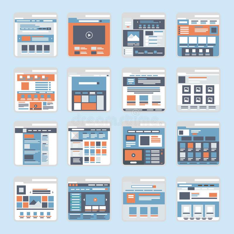 Flat website interface windows vector. Website online shopping interface windows vector. Flat style modern elements web site click banner icon ui ux elements vector illustration