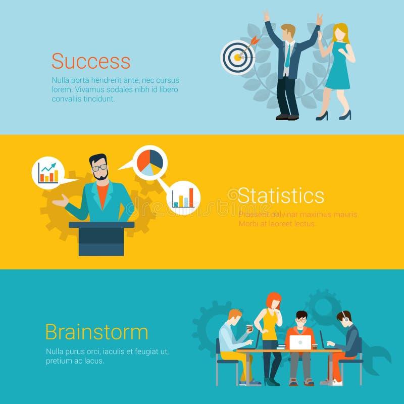 Flat website slider banner success statistics brainstorming joy. Flat style website slider banner success statistics brainstorming concept web infographics vector illustration